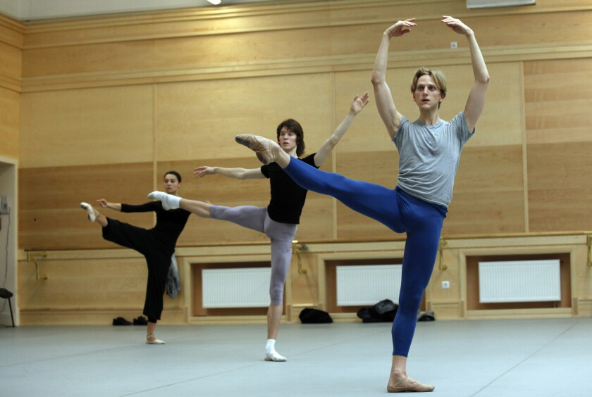 David Hallberg, a premier dancer of the Bolshoi, in a ballet class in the theater's renovated historical building.
