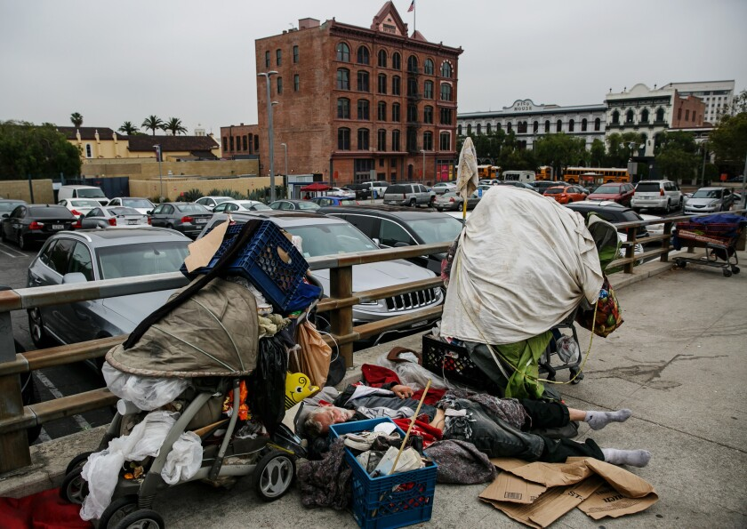 Homeless encampments in downtown Los Angeles