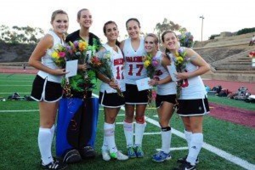 (L-R) Falcon Seniors Madi Coughlin, Grace Trupe, Argerey Stapakis, Madison Cohen, Alie Zimmer, and Mackenzie Pope.