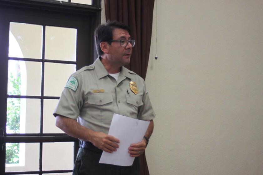 Shoreline park ranger Michael Ruiz requests a commercial loading zone for Scripps Park.