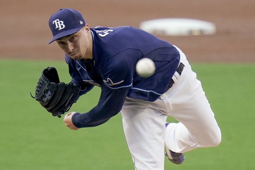 Rays pitcher Blake Snell throwing against Yankees at Petco Park