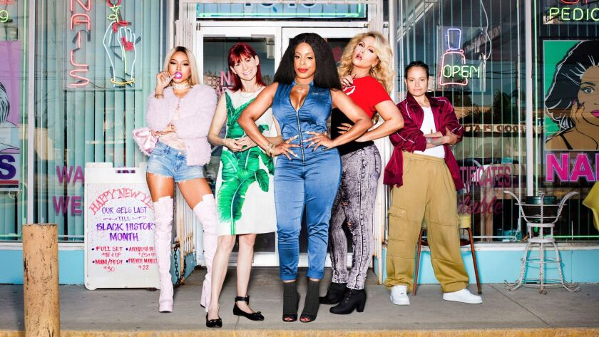 """TNT's new series """"Claws"""" pairs murder with killer nail designs. The show, which stars Karrueche Tran, Carrie Preston, Niecy Nash, Jenn Lyon and Judy Reyes, airs Sunday."""