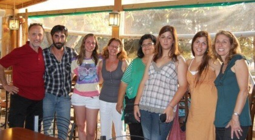 Adopt a Family founders Carine Chitayat, fourth from left, and Iris Pearlman, far right, visited with the Kdoshim family in Israel.