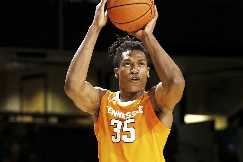 FILE — In this Jan. 18, 2020, file photo, Tennessee guard Yves Pons plays against Vanderbilt in an NCAA college basketball game in Nashville, Tenn. The combination of experience and talent has raised expectations that Tennessee can win the SEC regular season title for the second time in four seasons and maybe even think of the program's first Final Four. (AP Photo/Mark Humphrey, File)