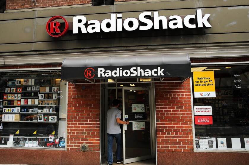 He won't find a crowd inside: a typical Radio Shack store.
