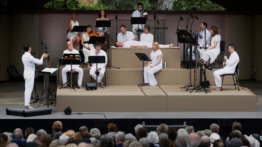 "ICE and Roomful of Teeth perform Claude Vivier's opera ""Kopernikus"" in Libbey Bowl at the Ojai Music Festival on Sunday."