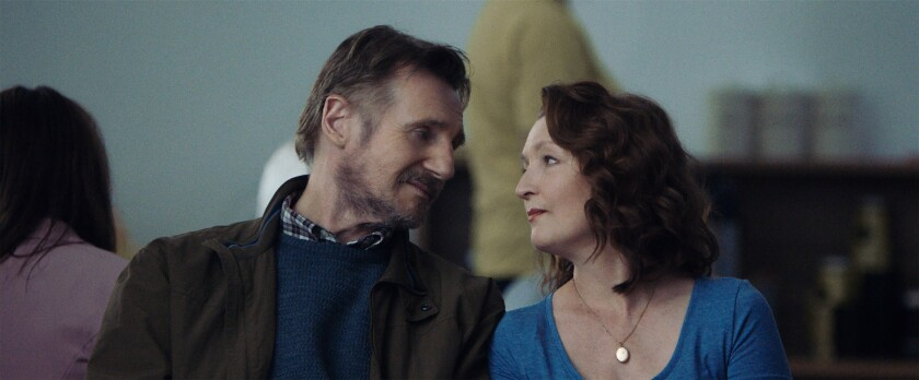 """Liam Neeson, left, and Lesley Manville as a married couple in """"Ordinary Love."""""""