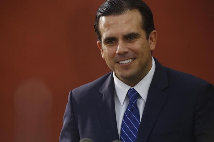El gobernador de Puerto Rico, Ricardo Rossello, habla durante una conferencia de prensa. EFE/Archivo
