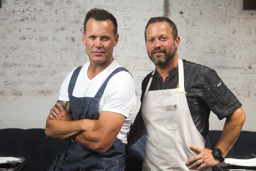 Chef-partners Brian Malarkey (left) and Joe Magnanelli's unlikely culinary collaboration is a success.