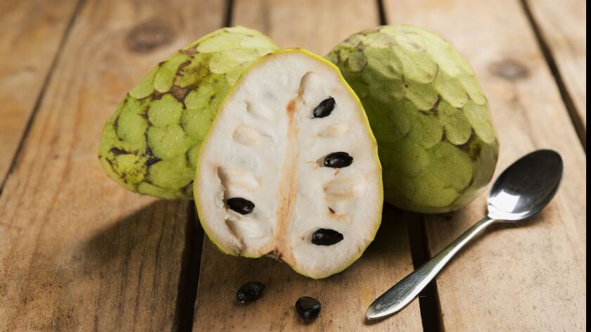 A cherimoya has fragrant, ivory-colored flesh.