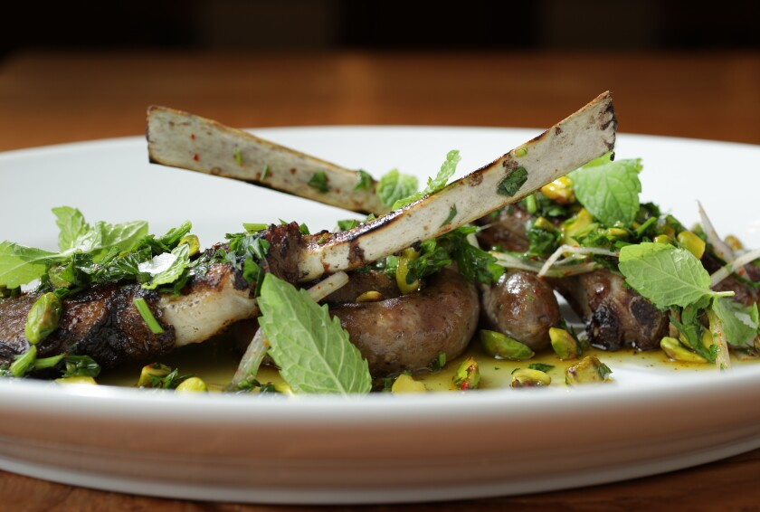 Lamb with pistachio and mint
