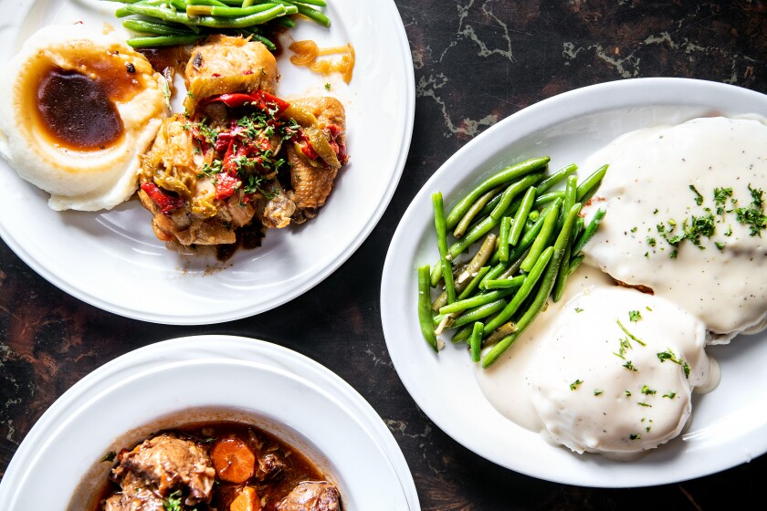 Clockwise from top: Basque chicken, chicken fried steak and oxtail stew from Centro Basco.