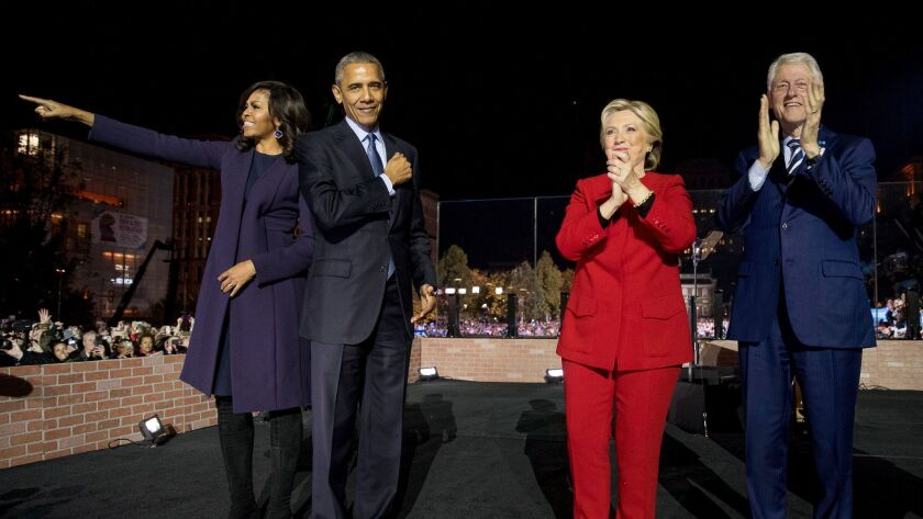 Hillary Clinton is joined in Philadelphia by First Lady Michelle Obama, President Obama and former President Bill Clinton.