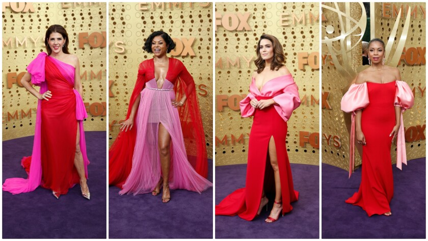 The pairing of pink and red on the 2019 Emmy Awards purple carpet