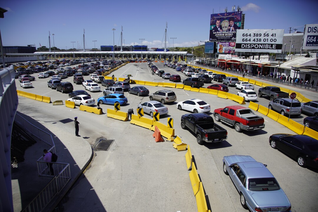 Border traffic is backed up for a two-hour wait on April 21, 2020 at the San Ysidro Port of Entry.