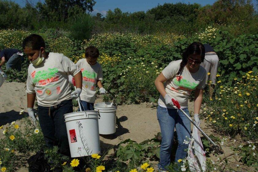 Volunteers help at Wildcoast's second Tijuana River Valley clean-up in June 2009.