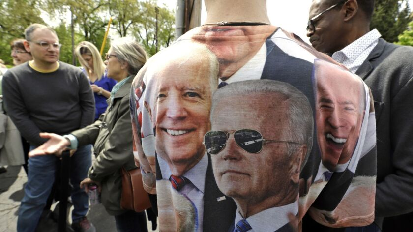Supporters of Joe Biden's 2020 presidential candidacy wait outside before a rally in Pittsburgh on April 29.