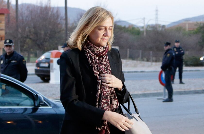 FILE - In this Monday, Jan. 11, 2016, file photo, Spain's Princess Cristina arrives at a makeshift courtroom for a corruption trial, in Palma de Mallorca, Spain. The accountant for a company that allegedly paid personal expenses for Spain's Princess Cristina testified Tuesday Feb. 16, 2016 saying s