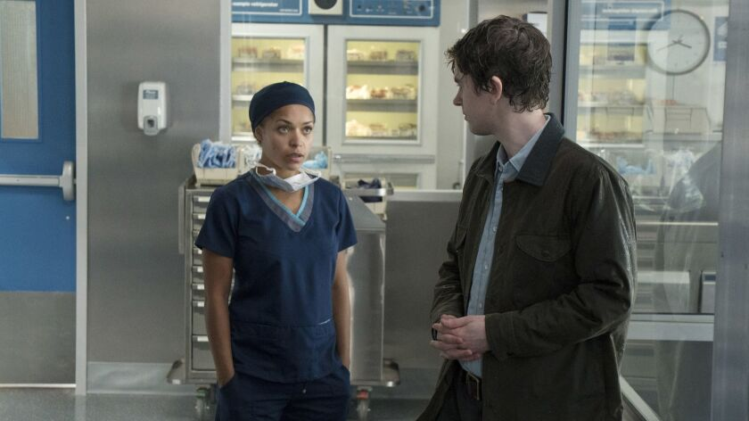 "This image released by ABC shows Antonia Thomas, left, and Freddie Highmore in a scene from ""The Goo"