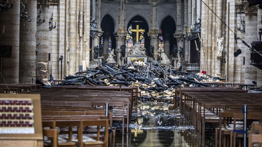 Debris fills the interior of the cathedral