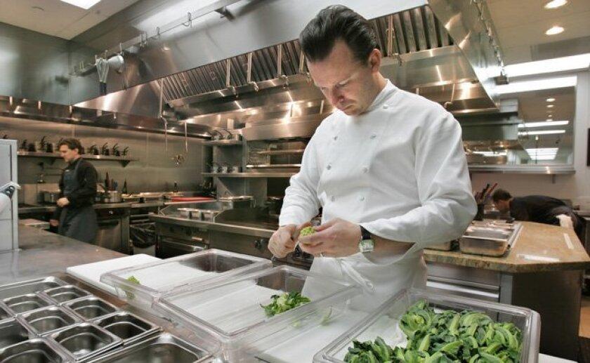 Addison chef William Bradley in his Carmel Valley kitchen.