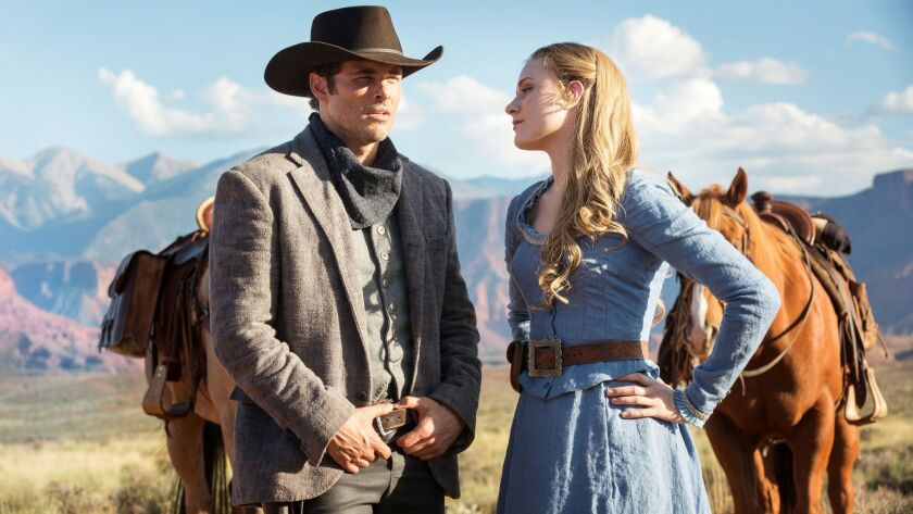 "James Marsden and Evan Rachel Wood in HBO's series ""Westworld."""