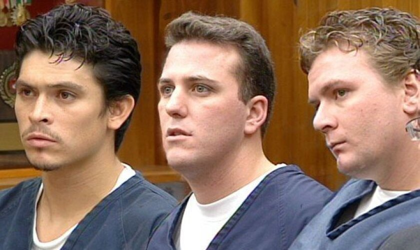 Members of the 'Bird Rock Bandits' in court. Eric House is pictured at right.