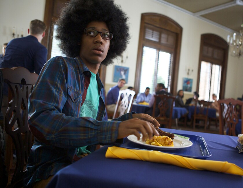 """Tyler James Williams is the socially awkward Lionel in """"Dear White People,"""" Justin Simien's feature film debut that mixes comedy and touchy issues."""