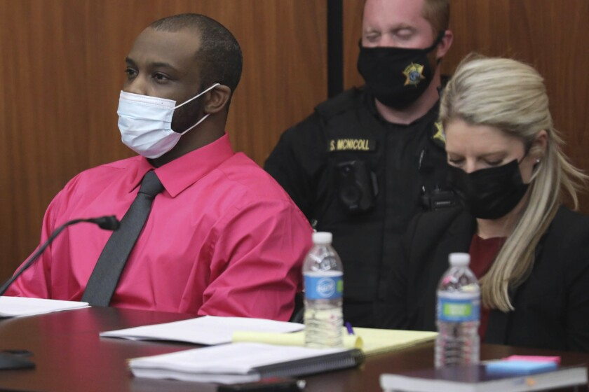 Defendant Nathaniel Rowland sits with his attorney Alicia Goode during closing arguments in his trial on Tuesday, July 27, 2021, in Richland County Circuit Court in Columbia, S.C. Rowland is accused of killing Samantha Josephson after luring her into his car in March 2019. (Tracy Glantz/The State via AP, Pool)