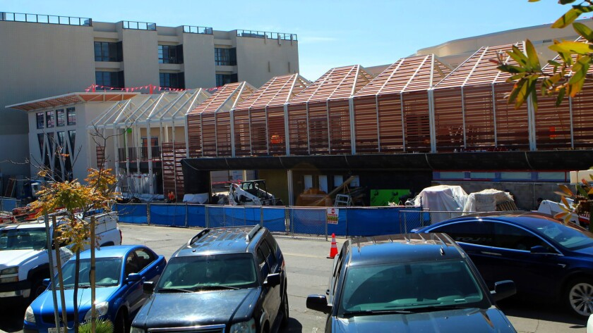 This construction photo (taken Feb. 28, 2019) shows The Conrad Performing Arts Center in La Jolla close to completion with opening night festivities just a month away.