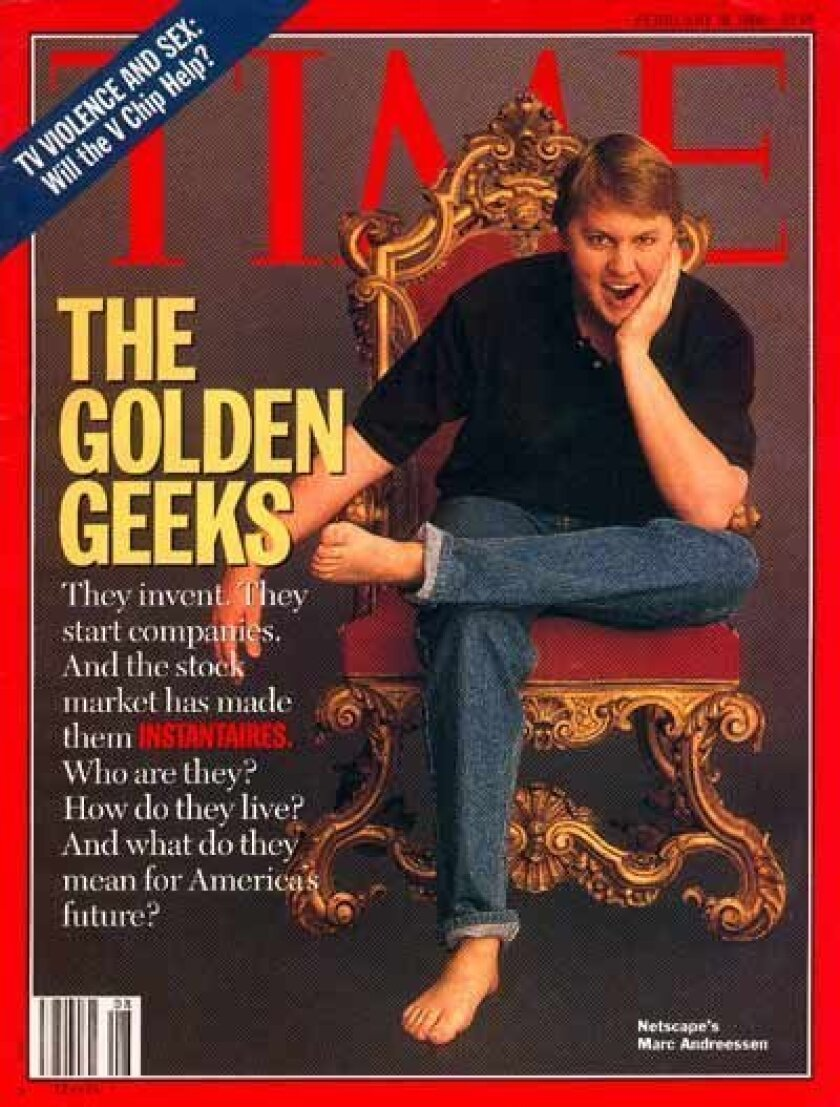 Andreesen's extraordinary work with web browsers led to his being featured on the cover of Time magazine.