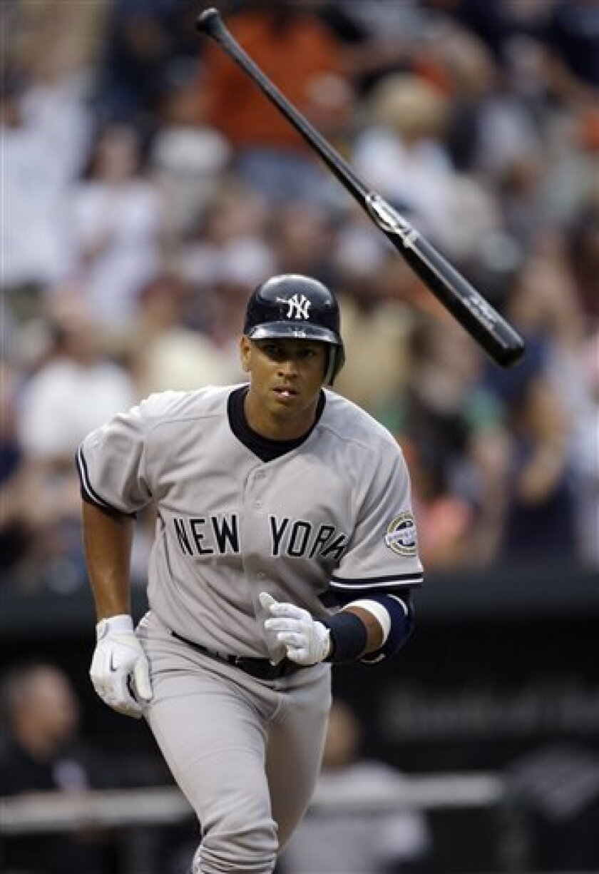 New York Yankees' Alex Rodriguez throws his bat after hitting a three run homer during the first inning of a baseball game against the Baltimore Orioles, Friday, May 8, 2009, in Baltimore. Rodriguez joined the team for the first time this year after recovering from hip surgery. (AP Photo/Rob Carr)