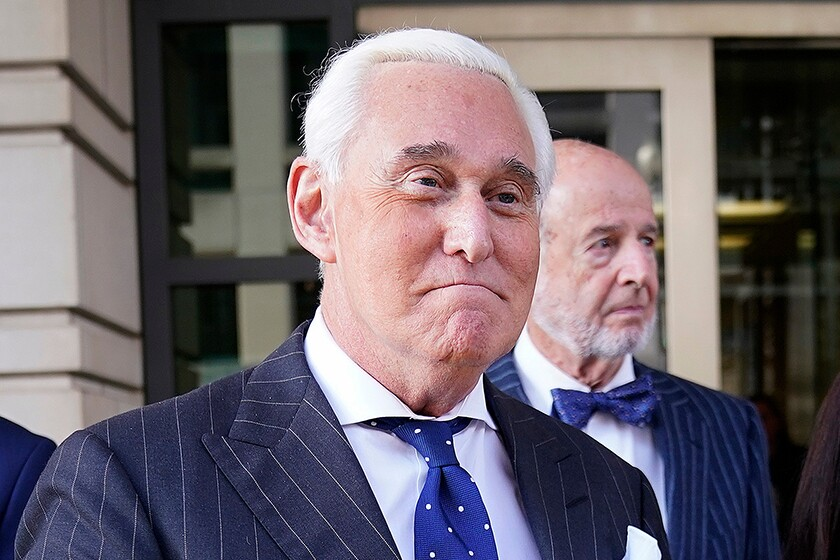 Roger Stone leaves a courthouse in Washington on Nov. 25, 2019.