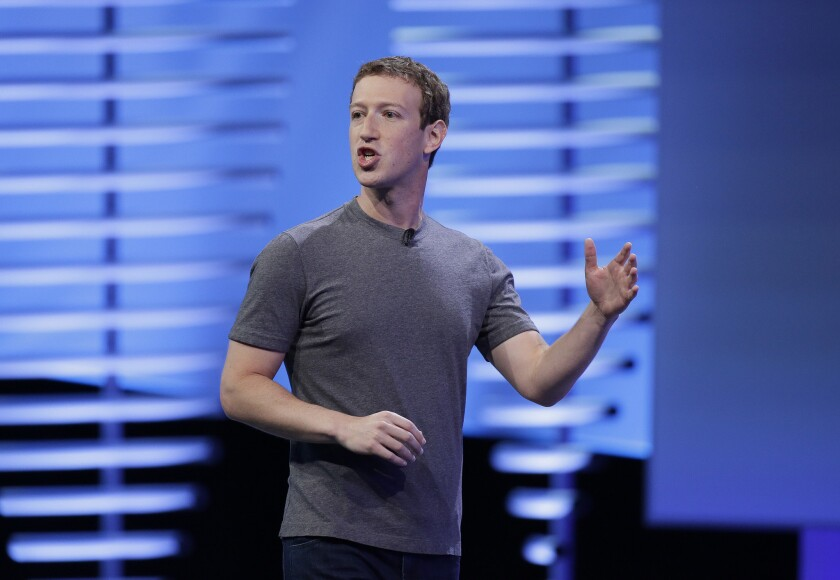 In this 2016 photo, Facebook Chief Executive Mark Zuckerberg speaks at the F8 Facebook Developer Conference in San Francisco.