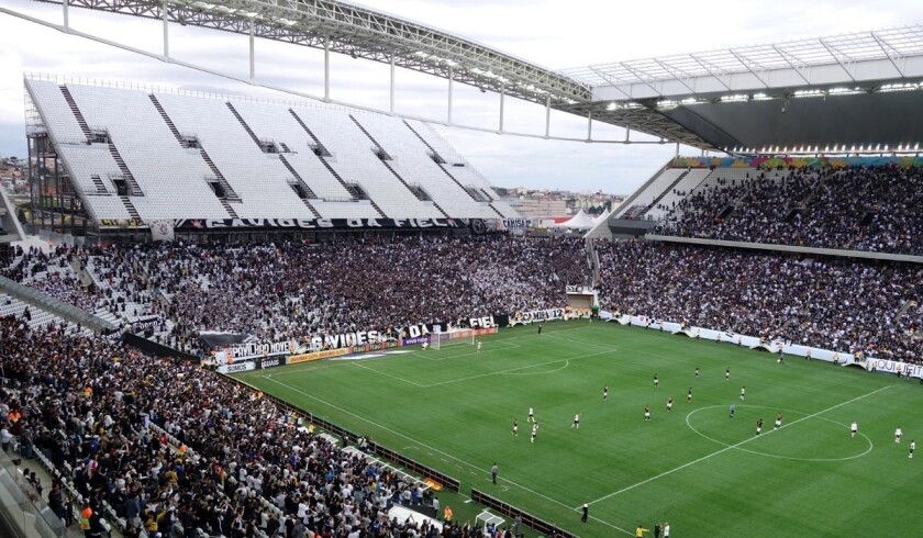 The new Sao Paulo stadium, Arena Corinthians, has an untested temporary seating section above fans at one end of the structure.