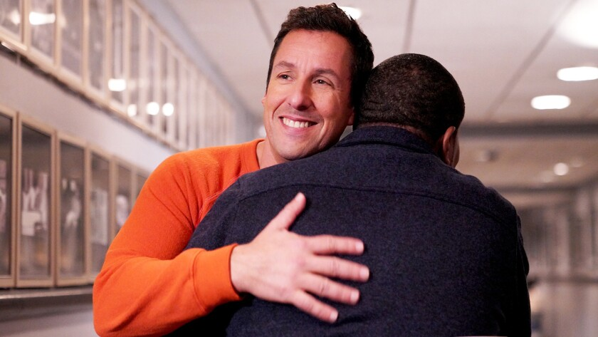 """Adam Sandler, left, hosts NBC's """"Saturday Night Live"""" for the first time. With Kenan Thompson."""