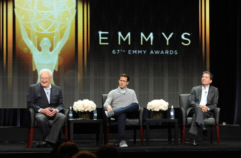 Emmys executive producer Don Mischer, from left, host Andy Samberg and Television Academy CEO Bruce Rosenblum talk about the upcoming awards show Thursday.