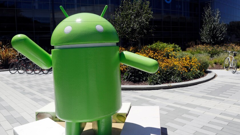 An Android statue stands on Google's campus in Mountain View, Calif.
