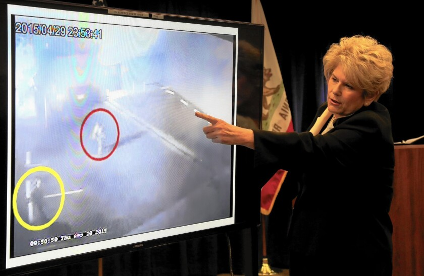 San Diego County Dist. Atty. Bonnie Dumanis guides the media through a surveillance video showing the shooting of Fridoon Nehad by Officer Neal Browder.