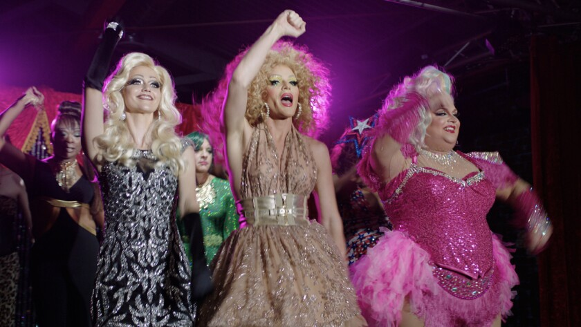 "(L-R)- Johanna Braddy, William, and Ginger Minj in a scene from ""Miss Arizona."" Credit: Cinedigm"
