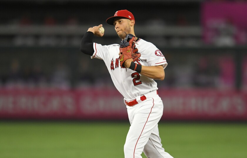 Angels shortstop Andrelton Simmons throws to first base.