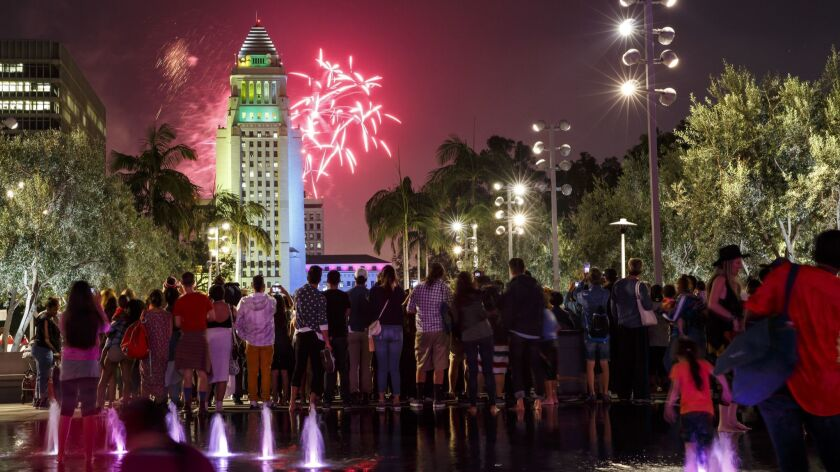 LOS ANGELES, CALIF. -- MONDAY, JULY 4, 2016: Fireworks at the 4th annual Grand Park + Music Center's