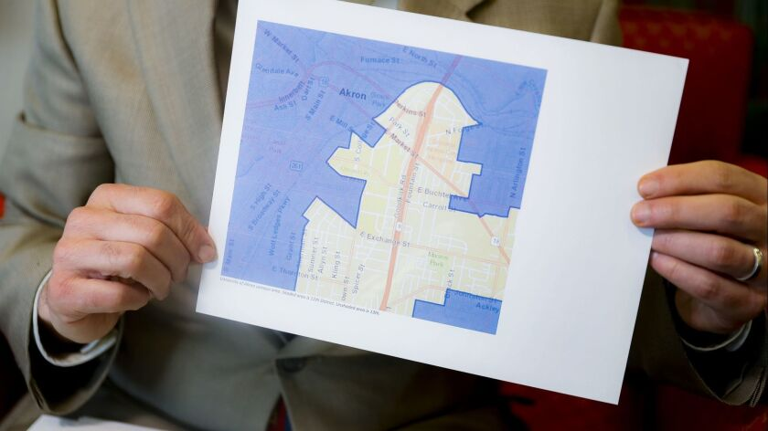 A map demonstrating a gerrymandered Ohio district in Cincinnati on April 11.