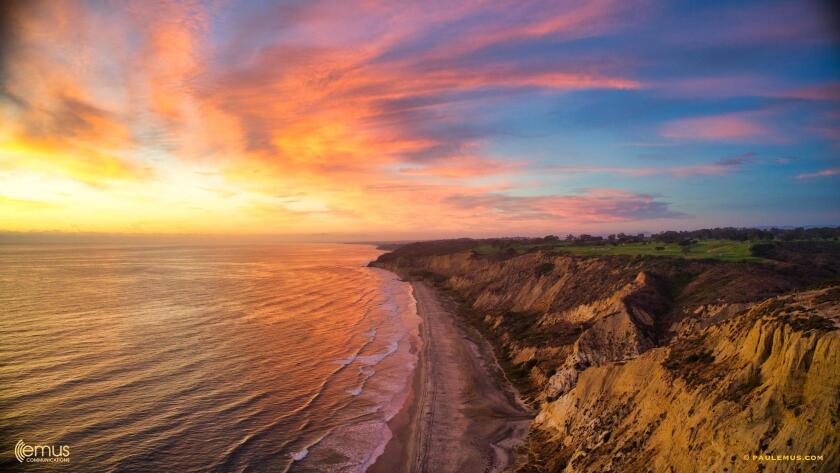 A magnificent sundown over Torrey Pines on Friday, Aug. 2 — Paul Emus