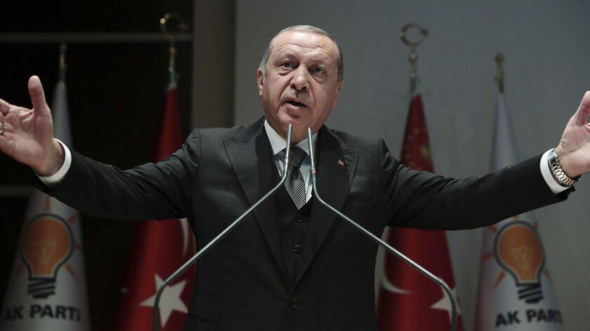 Turkish President Recep Tayyip Erdogan speaks to supporters in Ankara on Oct. 22.