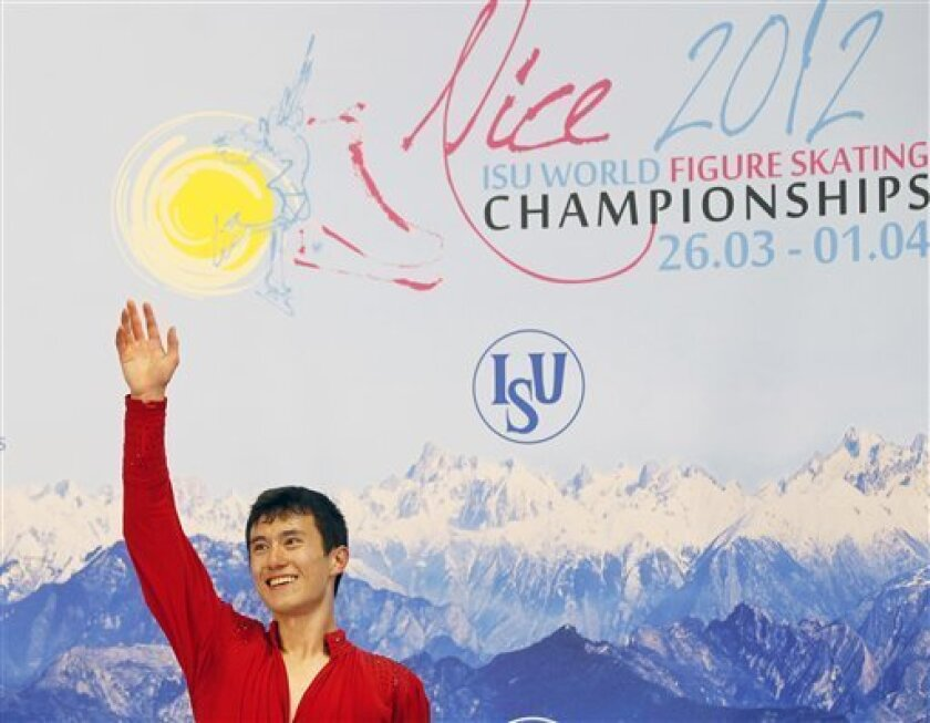 Patrick Chan of Canada  reacts after he performs during his Men Free skating at the ISU 2012 World Figure Skating Championships in Nice, southern France, Saturday, March 31, 2012. (AP Photo/ Francois Mori)