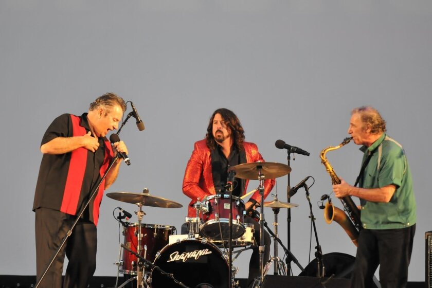 Jocko Marcellino belts out Little Richard's 'Lucille' at the Hollywood Bowl July 13, 2013 with accompaniment from Foo Fighters frontman and step-nephew Dave Grohl on drums and Sha Na Na's Michael Brown on sax. Courtesy Photo
