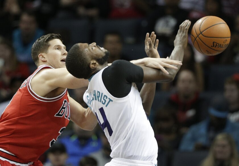 Charlotte Hornets' Michael Kidd-Gilchrist, right, is fouled by Chicago Bulls' Doug McDermott, left, in the first half of an NBA basketball game in Charlotte, N.C., Monday, Feb. 8, 2016. (AP Photo/Chuck Burton)