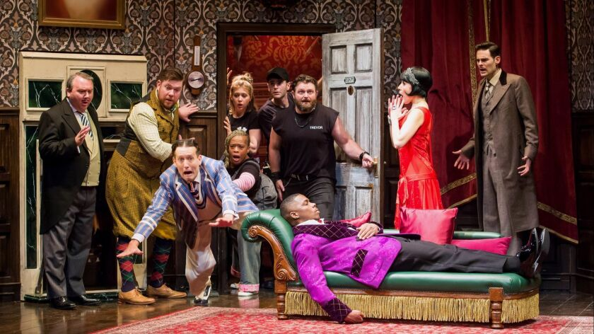 The company of the national tour of ?The Play That Goes Wrong.? Written by Henry Lewis, Jonathan Say