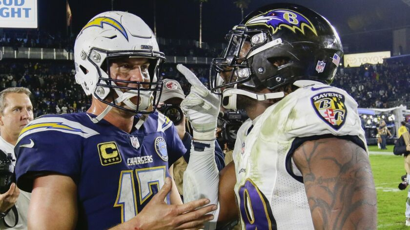 CARSON, CA, SATURDAY, DECEMBER 22, 2018 - Ravens linebacker Matthew Judon gives Chargers quarterback